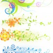 Hand Drawn floral background with flowers, greeting vector card for retro summer design. — Stock Vector #18020167