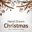Christmas hand drawn fur tree for xmas design. With balls, gifts, toys and fir-cone. — Stockvectorbeeld
