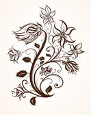 Hand Drawn floral background with flowers, greeting vector card for retro summer design. — 图库矢量图片