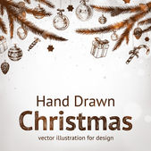 Christmas hand drawn fur tree for xmas design. With balls, gifts, toys and fir-cone. — Stok Vektör