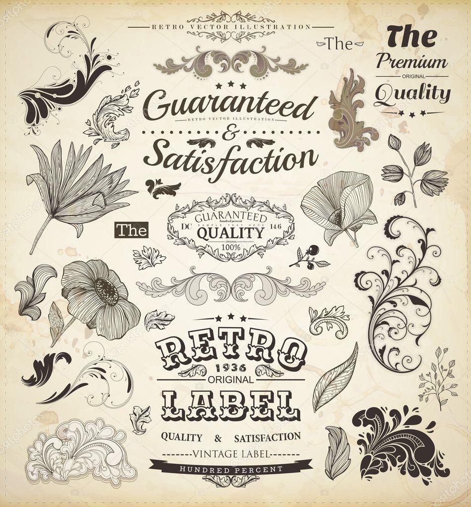 Elementos de dise o caligr fico p gina decoraci n etiquetas retro y marcos para textura de - Elementos de decoracion ...