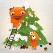 Funny characters: grandfather and grandson decorate the Christmas tree - Stock Vector