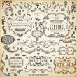 Calligraphic design elements, page decoration, retro labels and frames set for vintage design Old paper grunge texture — Stock Vector #18032929