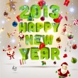 2013 Happy New Year 3d vector letters for Christmas invitation. All for Xmas design: balls, gifts, Santa, snowman, sweets, glow snowflakes, holly tree branches and gingerbread man. Big set of elements - 