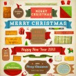 Set of vector Christmas ribbons, old dirty paper textures and vintage new year labels. Elements for Xmas design: santa, balls, mistletoe, gifts, curled corner paper frames. Christmas decorations set. — 图库矢量图片