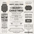 Christmas decoration collection Set of calligraphic and typographic elements, frames, vintage labels and borders. Floral ornaments and old paper texture. All for holiday invitation design — 图库矢量图片
