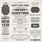 Boże Narodzenie dekoracja kolekcja zestaw elementy kaligrafii i typograficzne, wzór etykiety i obramowania. Ozdoby z kwiatów i stary tekstura papieru. wszystkich na wakacje wzór zaproszenie — Wektor stockowy