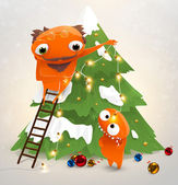 Funny characters: grandfather and grandson decorate the Christmas tree — Stock Vector