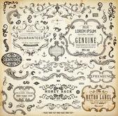 Calligraphic design elements, page decoration, retro labels and frames set for vintage design Old paper grunge texture — Vetor de Stock