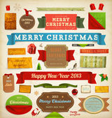 Set of vector Christmas ribbons, old dirty paper textures and vintage new year labels. Elements for Xmas design: santa, balls, mistletoe, gifts, curled corner paper frames. Christmas decorations set. — Wektor stockowy