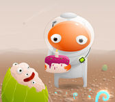Astronaut on the surface of Mars congratulates with the birth of the extraterrestrial and gives the cake with a candle. Vector illustration. — Stock Vector