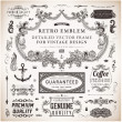 Calligraphic design elements, page decoration, retro labels and frames set for vintage design  Old paper grunge texture — Stock Vector