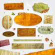 Set of vector retro ribbons, old dirty paper textures and vintage labels with flowers. Elements for invitation cards design. - Imagen vectorial