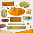 Set of vector retro ribbons, old dirty paper textures and vintage labels with flowers. Elements for invitation cards design. - Stock Vector