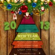 Set of Christmas elements: balls, Santa, snowman, fir tree branches, garland, stars, sweet and wooden fur tree. Wood background, 2013 3d vector letters for Xmas invitation design. — Vetor de Stock  #18047783