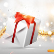 Christmas background vector image with Xmas gift — Vector de stock