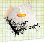 Geri okul çizimde tasarım öğeleri için çizgili sketchbook kağıt arka planda, çiçekli süsler çizilmiş — Stok Vektör