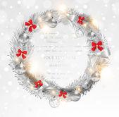 クリスマスの花輪のベクトル画像 — ストックベクタ