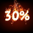 Fire Sale 30 percent for hot flame design — Stock Photo