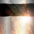 Metal banner background fired — Stock Photo