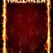 Stock Photo: Halloween fire frame for horror flame invitation.