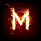 Fiery font for hot flame design. Letter M — Stock Photo
