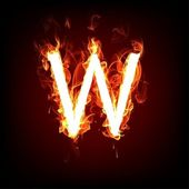 Fiery font for hot flame design. Letter W — Stock Photo