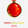 Vector Christmas pixel art card with Christmas ball - Stock Vector