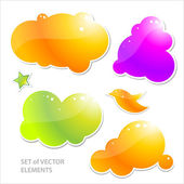 Collection of brightly colored, glossy web elements. — Stock Vector