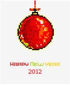 Vector Christmas pixel art card with Christmas ball — Stock Vector