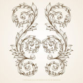 Vintage colorful design elements set for retro design. With leafs and flowers. — Cтоковый вектор