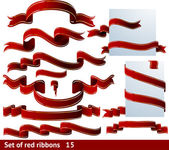 SET of 15 RED RIBBONS! — Stock Vector