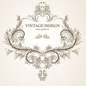 Vintage colorful design elements set for retro design. With leafs and flowers. — Stock Vector