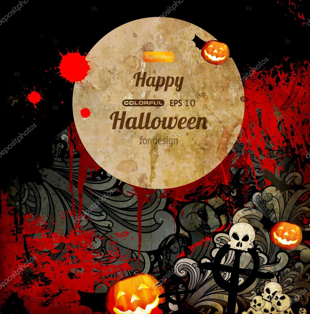 Spooky Halloween composition  Stock Vector #18077085