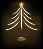 Abstract golden christmas tree on black background. Vector eps10 illustration — Stock Vector