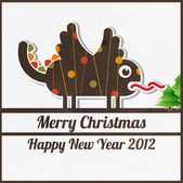 Cute dragon for greeting christmas card — Stock Vector