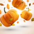 Abstract fly leafs and pumpkins vector autumn background — Stock Vector