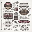 Vector de stock : Set of vintage retro Bakery badges, Coffee House and Ice Cream labels, old page elements collection