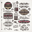 Set of vintage retro Bakery badges, Coffee House and Ice Cream labels, old page elements collection — Stock vektor