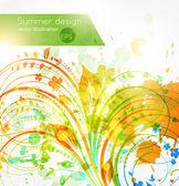 Elementi di design floreale estiva con il sole splendono. astratto sfondo luminoso fiore per design retrò. — Vettoriale Stock