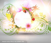 Abstract vector floral summer background with flowers, sun, ladybird, cherry and palms — Stock Vector