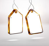 Golden Sale tags with diamonds. Vector Illustration — 图库矢量图片