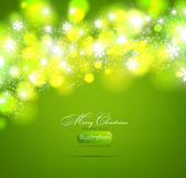 Christmas green background light and snowflakes vector background for Xmas winter design. — Stock Vector