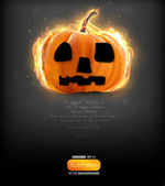Burning pumpkin for Halloween design — Stock Vector
