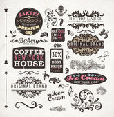Set of vintage retro Bakery badges, Coffee House and Ice Cream labels, old page elements collection — Stock Vector