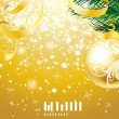 Elegant Christmas background with gold evening balls — Stock Vector