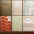 Seamless wallpaper set for vector retro Christmas background, old paper texture with snowflakes — ストックベクタ