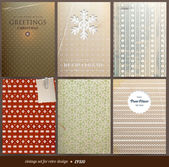 Seamless wallpaper set for vector retro Christmas background, old paper texture with snowflakes — Stock Vector
