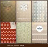Carta da parati senza soluzione di continuità per sfondo retrò di Natale vettoriali, texture di carta vecchio con fiocchi di neve — Vettoriale Stock