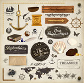Scrapbooking kit: marine holiday elements collection. Ship, map, moorings, seashells with pearl and wood banners set. Old paper texture and retro frames. — Cтоковый вектор